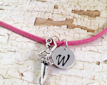 Personalized Ballerina Necklace, Initial ballet necklace, personalized jewelry, ballerina dancer necklace, Recital gift, pink suede cord