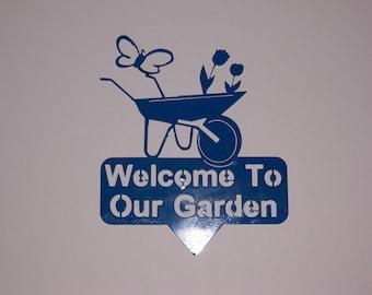 "CNC Plasma Cut Garden Sign with Wheel Barrow ""Welcome to our Garden"""