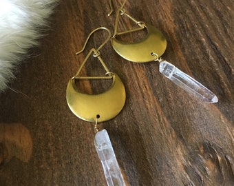Quartz Point Brass Moon and Triangle Earrings