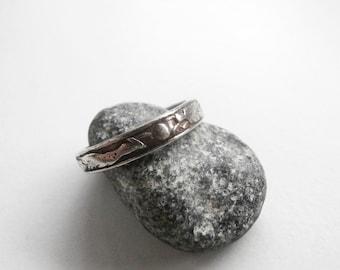 Mens Band Ring - Vintage Silver Ring - Foliage Ring - Mens Silver Ring