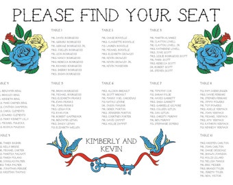 Seating Chart Tattoo Digital Design Printable PDF Custom Personal Poster Print File ONLY Offbeat Old School Rockabilly