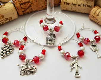 Vineyard Wedding Favors - Wine Charms, Wine Gift, Red Wine Glass Charms, Wine Theme Gift, Wine Decor, Can be Customized by LasmasCreations