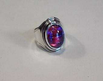 sterling silver dragon's breath opal man's ring