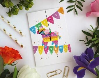 Pinata Card - Happy Birthday - Greeting Card