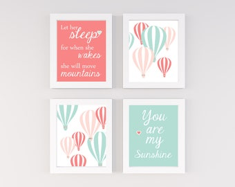 Mint and coral nursery, Hot air balloon nursery, Oh the places you will go, Nursery Quad, set of 4 8X10, Choose your colors