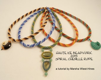 eTUTORIAL for Spiral Chenille Rope Beadweaving Tutorial in Two Palettes with Five Bonus Spiral Charts