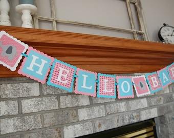 Hello Baby Banner, Elephant Baby Shower, Gender Reveal, Elephant Decorations, Girl Baby Shower, Girl Elephant Banner