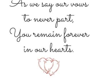Wedding Memorial Sign, In Loving Memory, Download Print, Red Black