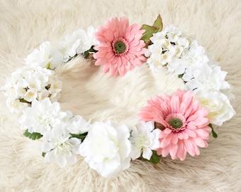 Handmade newborn baby flower basket photo orop