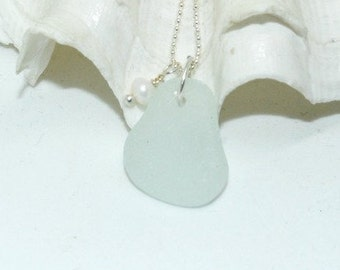 Seaglass Necklace, Seafoam Seaglass Jewelry, Lake Erie Beach Glass Necklace, Beach Necklace, Mothers Day Gift