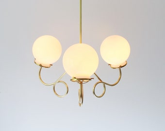 Modern Brass Chandelier Lighting Fixture, 3 Fluted Arms With White Glass Globes, BootsNGus Pendant Lighting and Home Decor