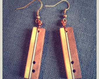 Rectangular earrings Walnut beech