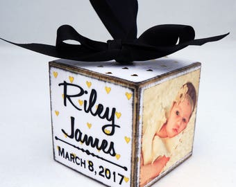 Baby's First Christmas Ornament in Gold Foil Hearts, Personalized Photo Block Ornament Keepsake, Photo Ornament
