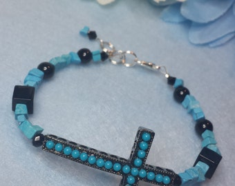 Turquoise blue bracelet with cross  Free shipping!