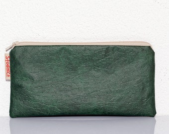 Green vinyl pencil case, Zippered pouch, Vegan pouch, Flower print, School supplies, Teacher gift, Faux leather, Make Up bag, Cosmetic pouch