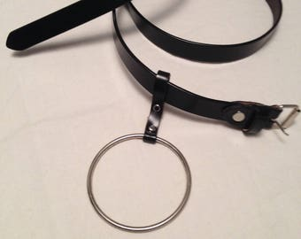 black thin belt with metal silver ring hangin on long about 108 cm