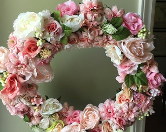 Floral Wreath of Natural Grapevine and Permanent (Silk) Varieties of Pink Roses, White Roses and Other Coordinating Flowers