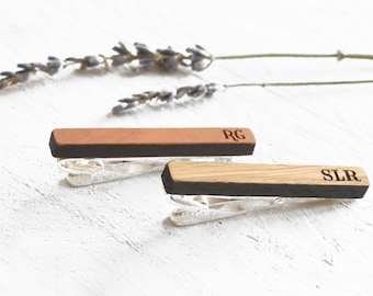 Custom Tie Clip, Personalised Tie Bar, Wood Tie Bar, Initial Tie Bar, Monogram Tie Clip, Personalized Tie Clip, Gift For Groom Gifts For Him