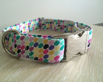 Multi Coloured Dog Collar, Honeycomb Pattern, Bright Colours, Pink, Purple, Teal, Female Pet Collar with Silver Metal Buckle