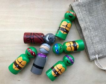 Teenage Mutant Ninja Turtles Inspired Painted Peg Doll Set