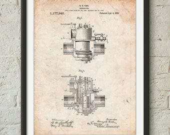 Carburetor 1916 Patent Poster, Automotive Art, Car Part Art, Garage Decor, Henry Ford, PP0835