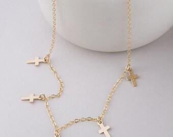 Tiny Cross Choker, Cross Choker Necklace in Gold OR Rose Gold, Gold Cross Dangle Choker, Dangle Choker, Cross Dangle Choker, Cross Necklace