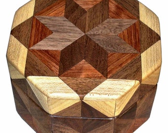 Walnut Bubinga Hackberry Octagon Box