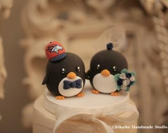 penguins bride and groom wedding cake topper (K434)