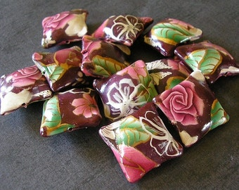 Crimson Beads, Red Rose Pillow Beads, Polymer Clay Beads, 12 Pieces - Made to Order