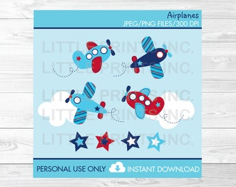 Airplane Clipart / Airplane Aviator and Stars / PERSONAL USE Instant Download A425