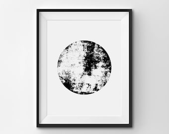 Abstract Sphere Illustration, Minimalist Print, Black and White Art, Abstract Circle Art, Modern Wall Art, Minimalist Art,  Printables
