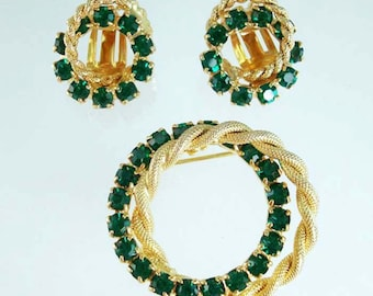 Rhinestone Pin Brooch & Earrings UNUSED Green Vintage Round Wreath Jewelry