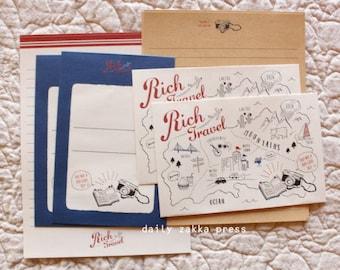 Travel Letter Set   Map Letter Writing Set -  2 designs - 8 letter papers - 4 envelopes - 20140