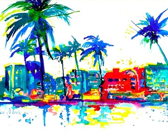 Art Deco Miami, Travel Print, Original Watercolor Painting, Neon Miami Beach, Ocean Drive Miami, Colorful Decor, Wanderlust Florida Poster