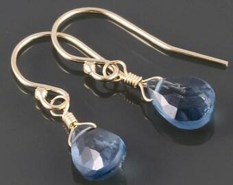 London Blue Topaz Earrings. Gold Filled Ear Wires. Genuine Gemstone. December Birthstone. Lightweight Earrings. s17e087