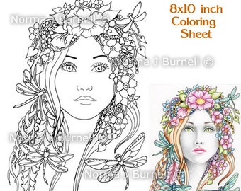 Midsummer Dragonflies Fairy Tangles Printable Coloring Sheets by Norma J Burnell - digital coloring pages for grownups adult coloring sheets