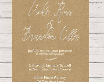 Rustic, Casual Wedding Invitation