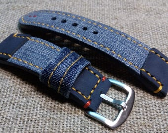 24/22mm. Leather strap BLUE JEANS handmade.