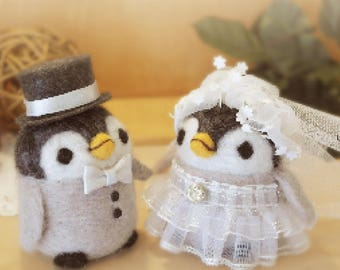 Penguin wedding Needle felted doll
