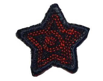 ID 3430E Blue Jean Stitched Star Patch Badge Craft Embroidered Iron On Applique