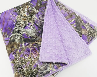 Personalized Purple Camo Minky Baby Blanket - Made to Order