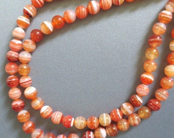 Natural Red Agate Sardonyx round beads - 10mm, Round Beads, Banded Gemstones