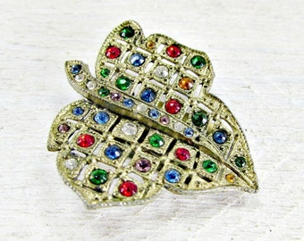 Antique 1930s Art Deco Dress Clip- Multi Color Rhinestones- Gold Tone Leaf Design- Great Gatsby Jewelry- Something Old for Wedding Prom