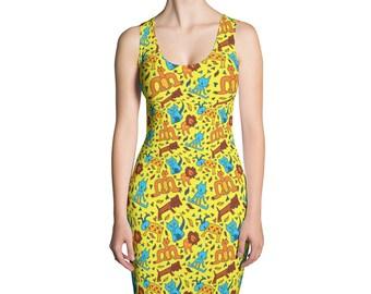 Fun yellow animal dress, cats, dogs, lion, monster stretch dress, bodycon dress