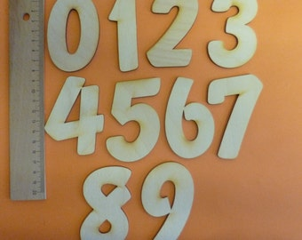 Wooden number 80mm 3.1'' high for crafting