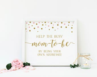 Pink and Gold Baby Shower Sign, Write Your Address, Addressee Sign, Help The Busy Mom To Be, Printable, Instant Download - CG2