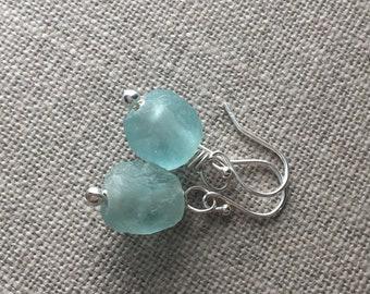 Recycled Glass Bead Sterling Silver Earrings. Coke Bottle Green Faux Sea Glass Bead Earrings. Recycled Glass Jewellery. Rustic Bead Earrings