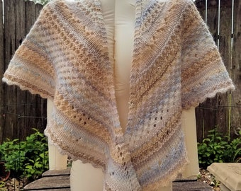 Hand Knit Lace Shawl, Crescent Shaped, Neutral Beige and Greys, Wool and Silk Blend Worsted Weight Yarn, Medium to Large Size