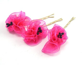 Fuschia  Organze Ribbon Flower, Wedding Bobby Pin, Hair Accessories-3pcs