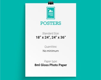 Full Color Posters, 8ml Glossy Photo Paper, Multiple Sizes